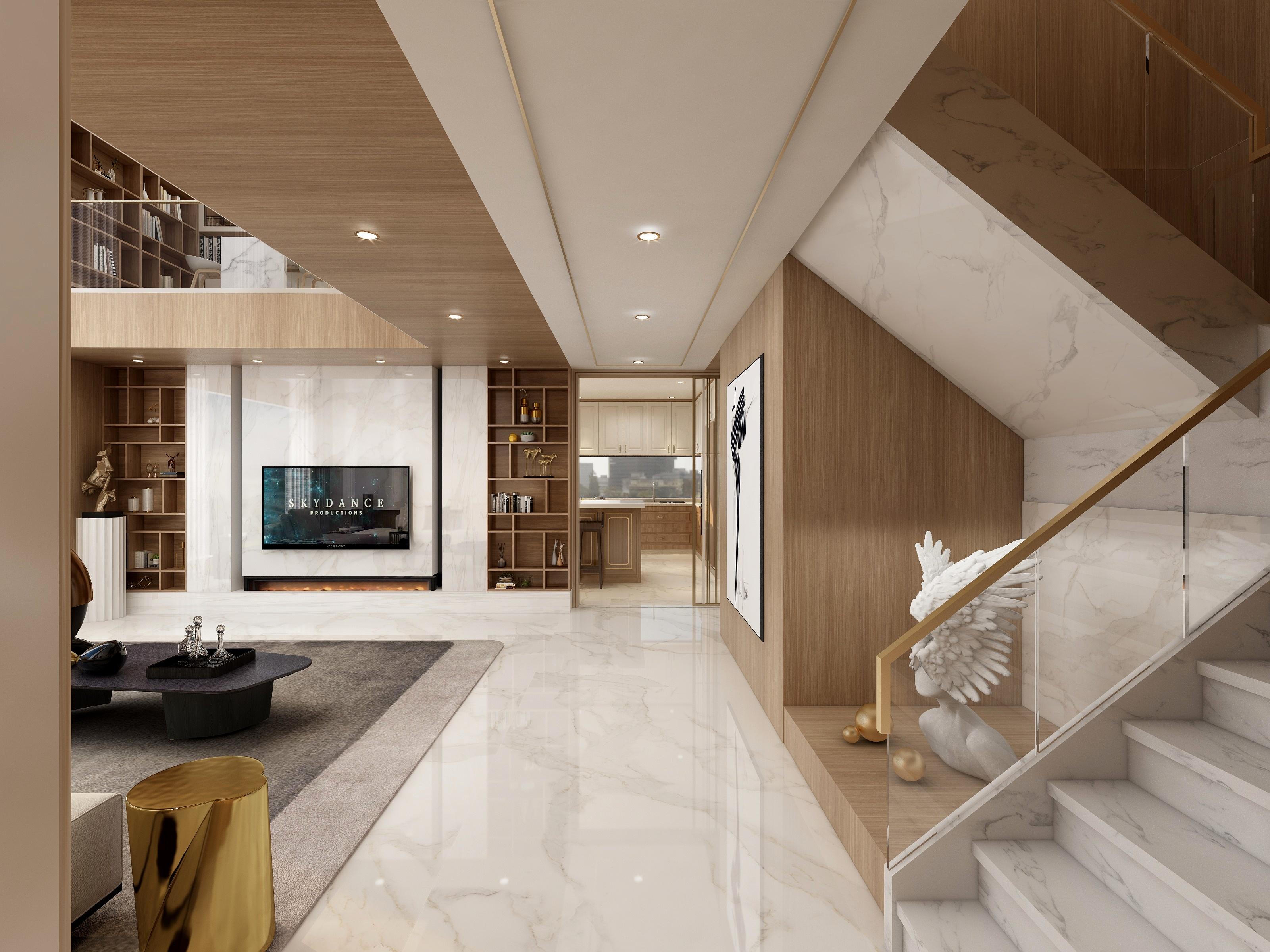 2层别墅户型-轻奢风效果图