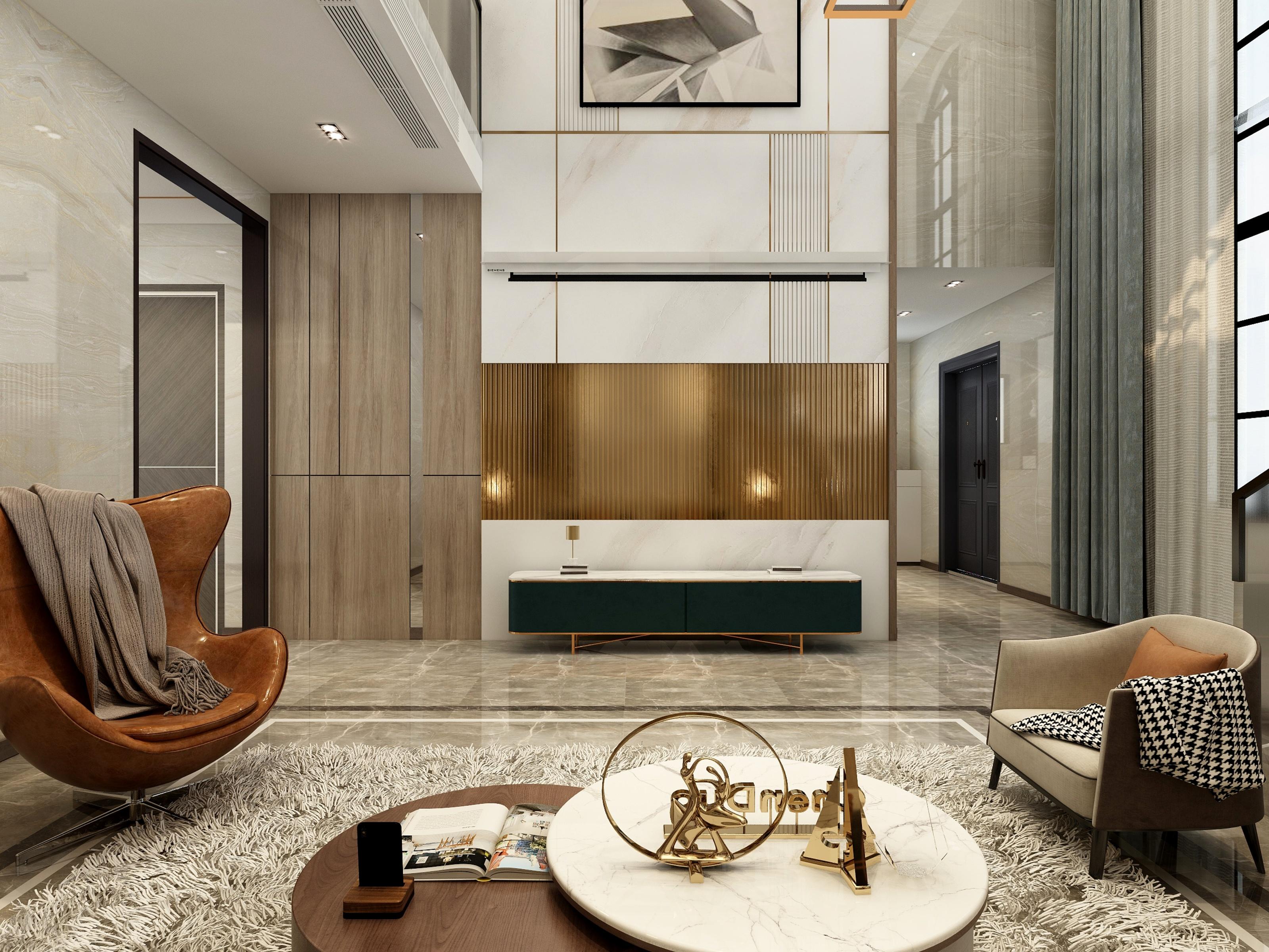 现代轻奢别墅358平3层效果图
